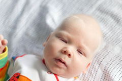 Whitehair babyboy with albinism syndrome Stock Photography
