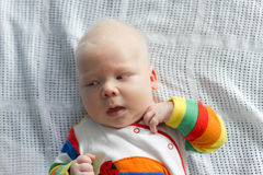 Whitehair babyboy with albinism syndrome Stock Images