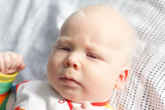 Whitehair babyboy with albinism syndrome Royalty Free Stock Images