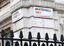 Whitehall and Downing Street signs Royalty Free Stock Photography