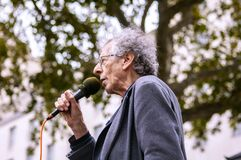 WHITEHALL, LONDON/ENGLAND- 17 October 2020: Piers Corbyn speaking at the March For Freedom rally; an anti-lockdown protest
