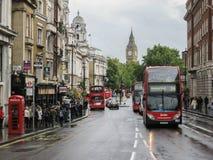 Whitehall-Straat en Big Ben Stock Afbeelding