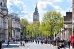 Whitehall-straat en Big Ben, Londen, het UK Stock Afbeeldingen