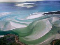 Whitehaven海滩Whitsundays,昆士兰-澳大利亚-空中vi 免版税库存图片