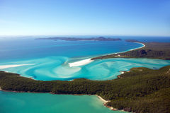 Whitehaven Beach Aerial Whitsunday Islands. Aerial photograph of Hill Inlet and Whitehave Beach, Whitsunday Island, Australia Stock Photo
