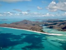 Whitehaven Beach from the air, Whitsundays Islands in Australia stock photography