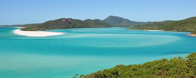 Whitehaven beach on the Great Barrier Reef in Australia. A panorama of Whitehaven beach on the Great Barrier Reef in Australia royalty free stock photo