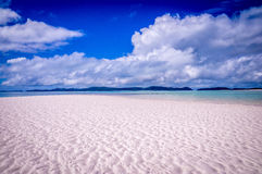Whitehaven beach panorama at Whitsunday Island Stock Photo
