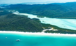 Whitehaven beach, Queensland. Whitehaven beach in the Whitsundays, Queensland. Aerial view, Australia Royalty Free Stock Photo