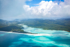 Whitehaven beach, Queensland. Whitehaven beach in the Whitsundays, Queensland. Aerial view, Australia Royalty Free Stock Photography