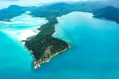 Whitehaven beach, Queensland. Whitehaven beach in the Whitsundays, Queensland. Aerial view, Australia Stock Photo