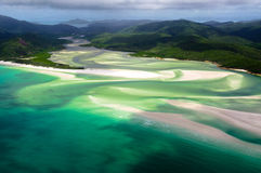 Whitehaven Beach. Scenic flight over Whitehaven Beach of the Whitsunday Islands Royalty Free Stock Photos