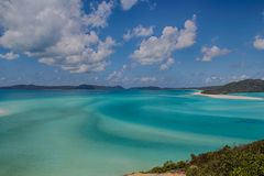Whitehaven Beach. Turquoise water and white sand produce the swirling patterns of Whitehaven beach on Whitsunday Island Royalty Free Stock Photos