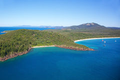 Whitehaven Beach Whitsundays. Aerial landscape of top tourist and sailing destination at southern end of Whitehaven Beach, Whitsundays, Australia Royalty Free Stock Images