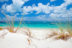 Whitehaven Beach in the Whitsundays. The amazing blue water of Whitehaven Beach in the Whitsundays is a very popular tourist location in Queensland, Australia Royalty Free Stock Photography