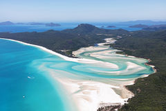 Whitehaven Beach Whitsundays Australia. Whitehaven beach in the Whitsundays, Queensland Australia. Beach with white sand and blue water Stock Photo