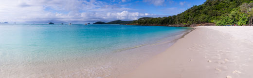 Whitehaven plaży panorama przy Whitsunday wyspą Zdjęcia Stock