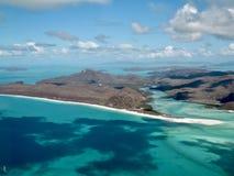 Whitehaven-Strand von der Luft, Pfingstsonntag-Inseln in Australien stockfotografie