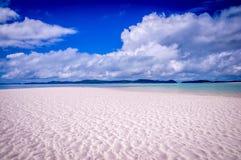 Whitehaven Whitsunday海岛的海滩全景 库存照片