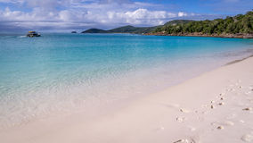 Whitehaven Whitsunday海岛的海滩全景 免版税库存图片