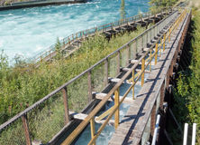 Whitehorse Salmon Fishladder Yukon River Canada stock afbeeldingen
