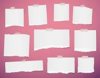 Whitel rev sönder den tomma anmärkningen, pappers- remsor för anteckningsbok för text eller meddelandet som klibbades med det kli vektor illustrationer