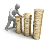 Whiteman make money graph. 3D man concept Stock Images