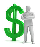 Whiteman and money sign Royalty Free Stock Image
