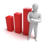 Whiteman and rising graph Royalty Free Stock Photo