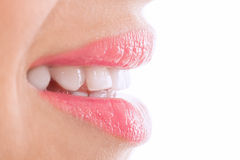 Whiten flat teeth Stock Photo