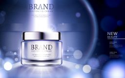 Whitening cream ads. Cosmetic product ads with particles and strong light on the container in 3d illustration Stock Images