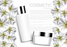 Whitening cream and jasmine flowers on white background vector w. Hite cosmetic collection Royalty Free Stock Photo