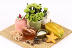 Whitening formula with star fruit, fresh milk and honey. Royalty Free Stock Photos