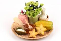 Whitening formula with star fruit, fresh milk and honey. Royalty Free Stock Photography