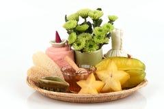 Whitening formula with star fruit, fresh milk and honey. Stock Photos