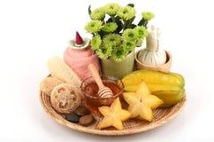 Whitening formula with star fruit and honey. Stock Photo