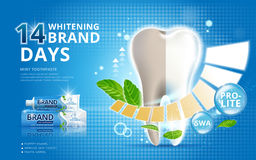 Whitening toothpaste ads. Before and after effect on your teeth on blue background in 3d illustration vector illustration