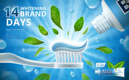 Whitening toothpaste ads. Mint leaves flavour toothpaste on toothbrush with sparkling effect on the background in 3d illustration vector illustration