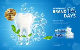 Whitening toothpaste ads. Sparkling white tooth with mint leaves and bubbles on blue background in 3d illustration stock illustration