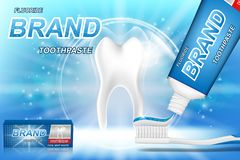 Whitening toothpaste ads. Tooth model and dental care product package design for toothpaste poster or advertising. 3d. Vector illustration EPS 10 vector illustration