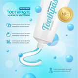 Whitening Toothpaste Promotion Concept Card. Vector Stock Photo