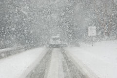 Whiteout driving conditions. Moderate white out driving conditions with limited visibility Stock Photography