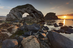 Whitepark Bay. Sunset at Whitepark Bay , Antrim, Northern Ireland Royalty Free Stock Photo