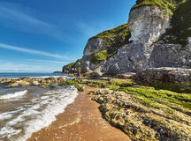 Whiterocks, Northern Ireland, County Antrim. A beautiful summer day in Whiterocks Bay, County Antrim, Northern Ireland stock photos