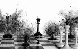 The whites have won in chess battle. White chess king and two white pawns are watching the black pieces are exploding, leaving the black king alone Royalty Free Stock Photos