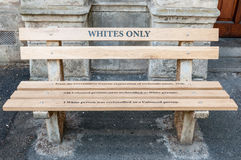 Whites only - reconstructed apartheid bench in Cape Town Royalty Free Stock Photo