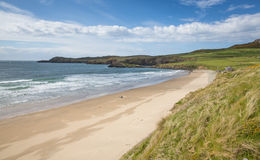 Whitesands Bay beach Pembrokeshire West Wales UK. Whitesands Bay beach St Brides Bay West Wales UK in the Pembrokeshire Coast National Park.   The Pembrokeshire Stock Photo