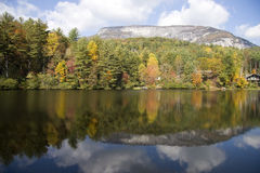 Whiteside Mountain. In North Carolina with Lake Reflections Royalty Free Stock Photo