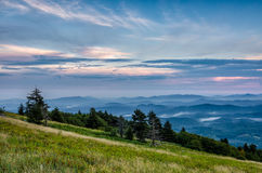 Whitetop Mountain, Virginia. Pastel colors and layers of ridges at sunset over the Appalachian Mountains as seen from atop Whitetop Mountain in Virginia Royalty Free Stock Images