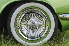 Whitewall tyre on a green custom car Royalty Free Stock Images